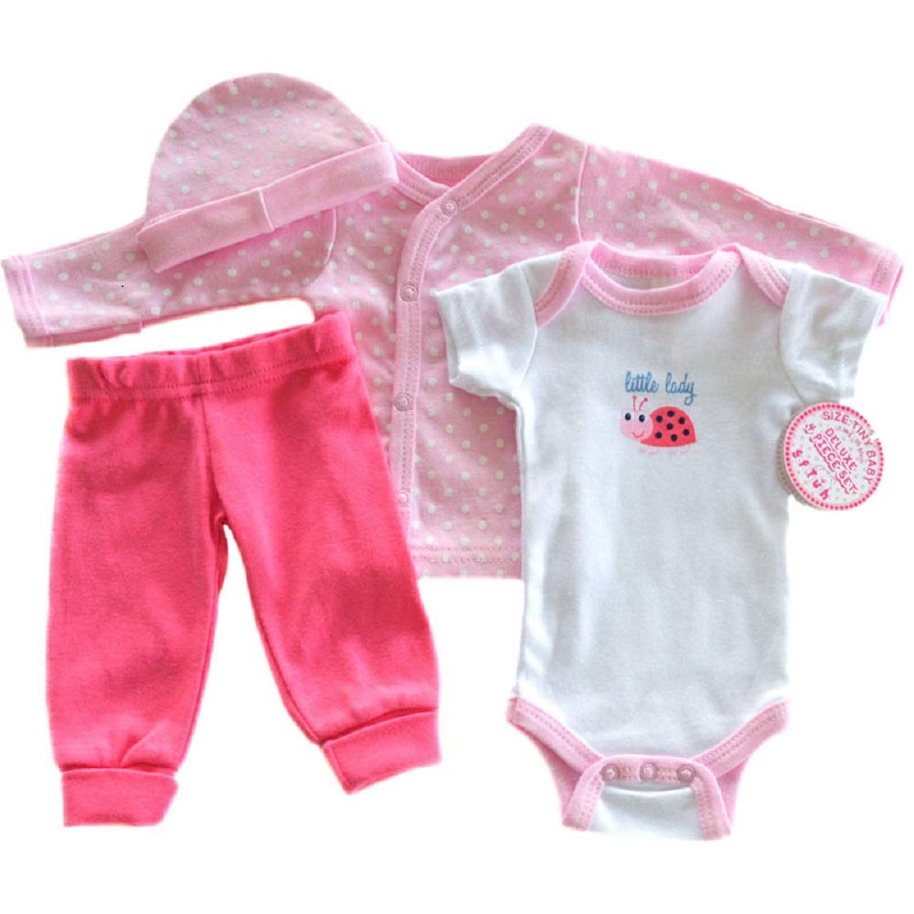 50-55 cm Pink Little Lady. Soft Touch Tiny Baby Girl 4 Piece Set Low Birth Weight Premature 3-5 lbs