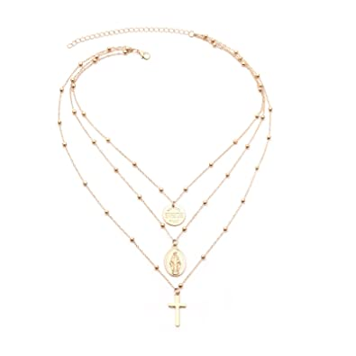 Epinki Gold Plated Y Necklace Gold Virgin Cross Adjustable Chain Necklace for Women and Girls