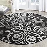 Safavieh Adirondack Collection ADR114A Black and Silver Round Area Rug, 6 Feet in Diameter