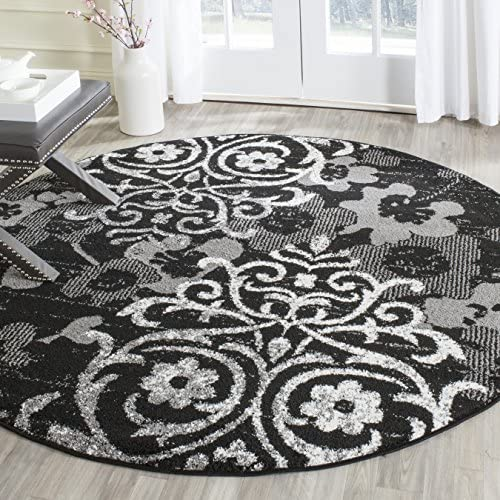 Safavieh Adirondack Collection ADR114A Black and Silver Contemporary Chic Damask Round Area Rug 6' Diameter