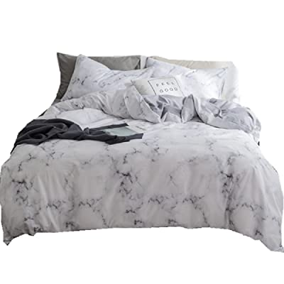 Marble Duvet Cover Queen,100% Soft Cotton Bedding Sets for Kids Boys Girls,Reversible Modern Gray Duvet Cover Comfy,Breathable with Zipper Closure,4 Corner Ties(NO Comforter): Home & Kitchen