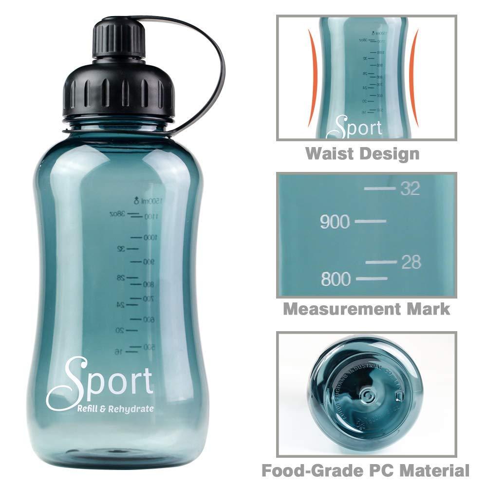 Oficina Viajes Zeewoo Botella de Agua Deporte 1500ml 1,5L Eco-Friendly Reutilizable de Plastico con Filtro para Deportes Yoga Senderismo