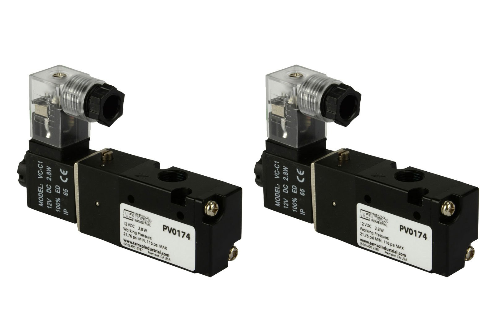 2 Qty 12V DC Solenoid Air Pneumatic Control Pilot Valve 3 Port 3 Way 2 Position 1/8'' NPT by Temco
