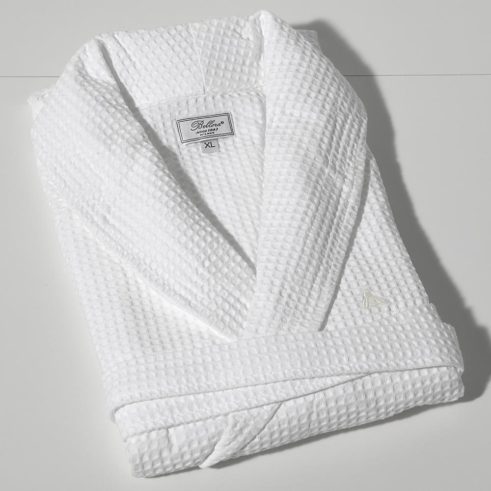 Bellora Waffle Weave Spa Robe, White, Medium - Made in Turkey - 100% Cotton - Original Waffle Weave