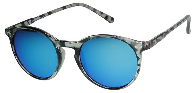 Immerschön Vintage-Sonnenbrille im 60-er Jahre-Design - Modell 3 Leo braun blaugrün verspiegelt Retro-Style Sixties Clubmaster Bluesbrothers Rockabilly Rock&Roll Wayfarer lMu6ic