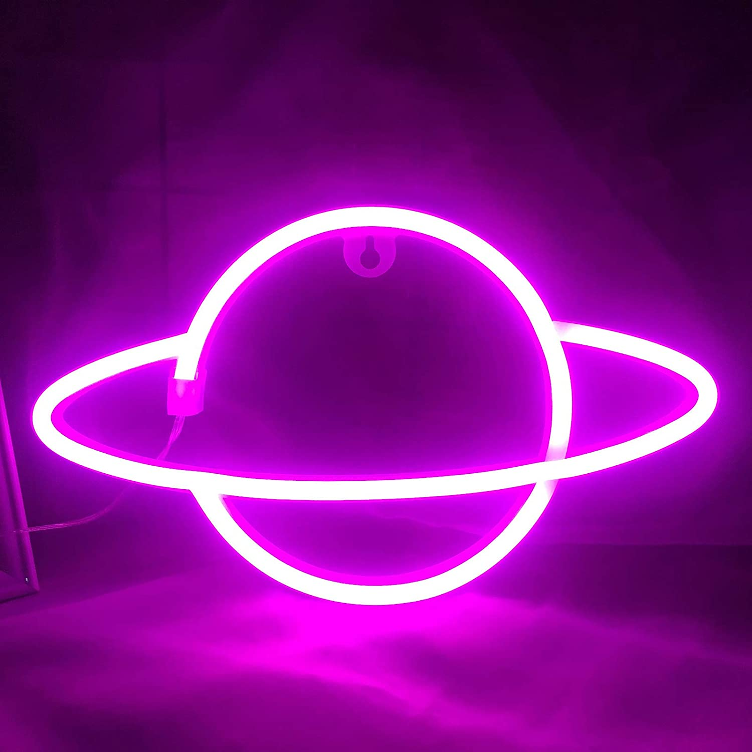 Planet Neon Sign for Wall Decor Light Pink Led Wall Light Battery or USB Operated Kids Room Lamps Planet Neon Signs Light up for Home Kids Room Bar Festive Party Halloween Christmas Festive Decor