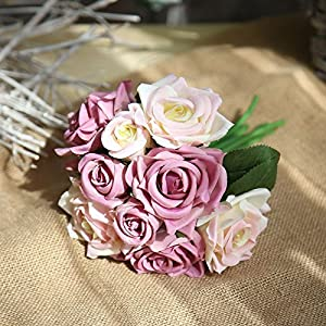 Muhan Artificial Fake Flowers Silk Plastic Artificial Roses 9 Heads Bridal Wedding Bouquet for Home Garden Party Wedding Decoration 10