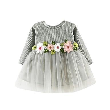 Princess Dress for Baby Girls 6-24M Cute Toddler Long Sleeve Prom Dresses Playwear (