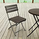 Adeco 2-Piece Folding Bistro-Style Patio Chairs Brown, Set Of 2