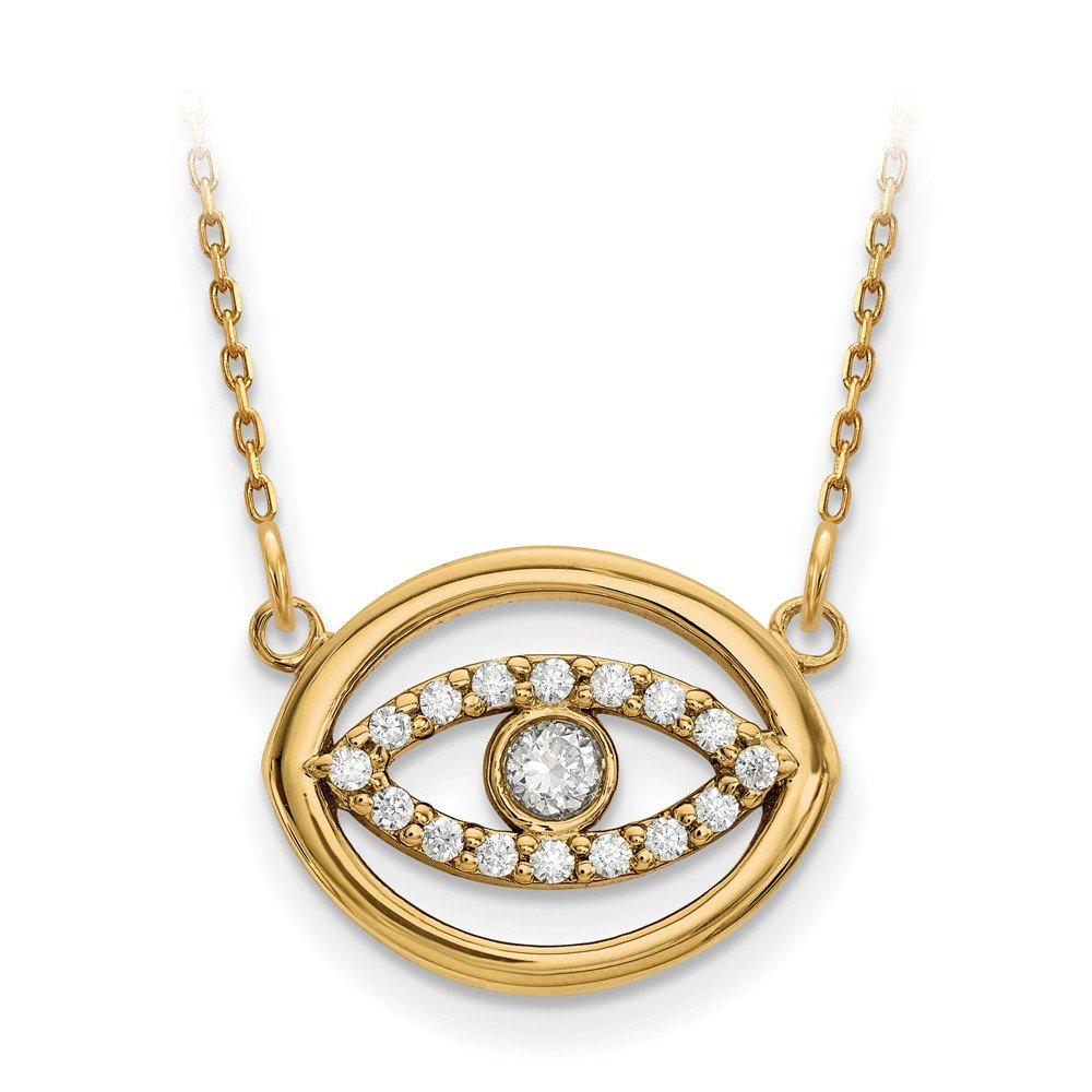 Top 10 Jewelry Gift 14ky Medium Diamond Gold Halo Evil Eye Necklace
