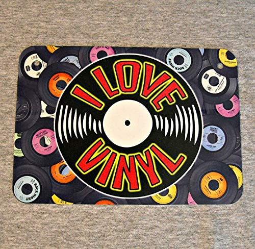 Metal Sign I Love Vinyl Albums Records Analog Sound Retro Lp Phonograph Audiophile Disc 12 10 7 Inch Music Man Cave Garage Wall Plaque
