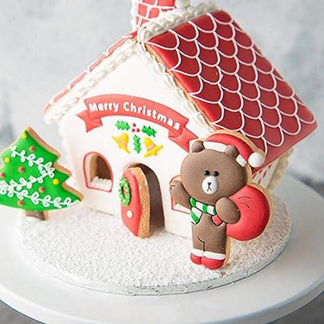 ningxiao586 8 UNIDS Casa Muñeco de Nieve Forma de Árbol de Navidad Fondant Cookie Mold Decoración