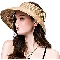 Lullaby Women s UPF 50+ Packable Wide Brim Roll-Up Sun Visor Beach Straw Hat 5ae8d0f7d2cb