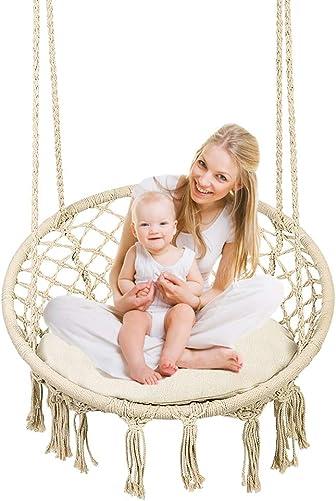 Greensen Hammock Swing Chair Hanging Hammock Chair for Outdoor Indoor Bedroom with Cushion, Macrame Hanging Hammock Chair for Kids Adults, 265LB Capacity, Beige