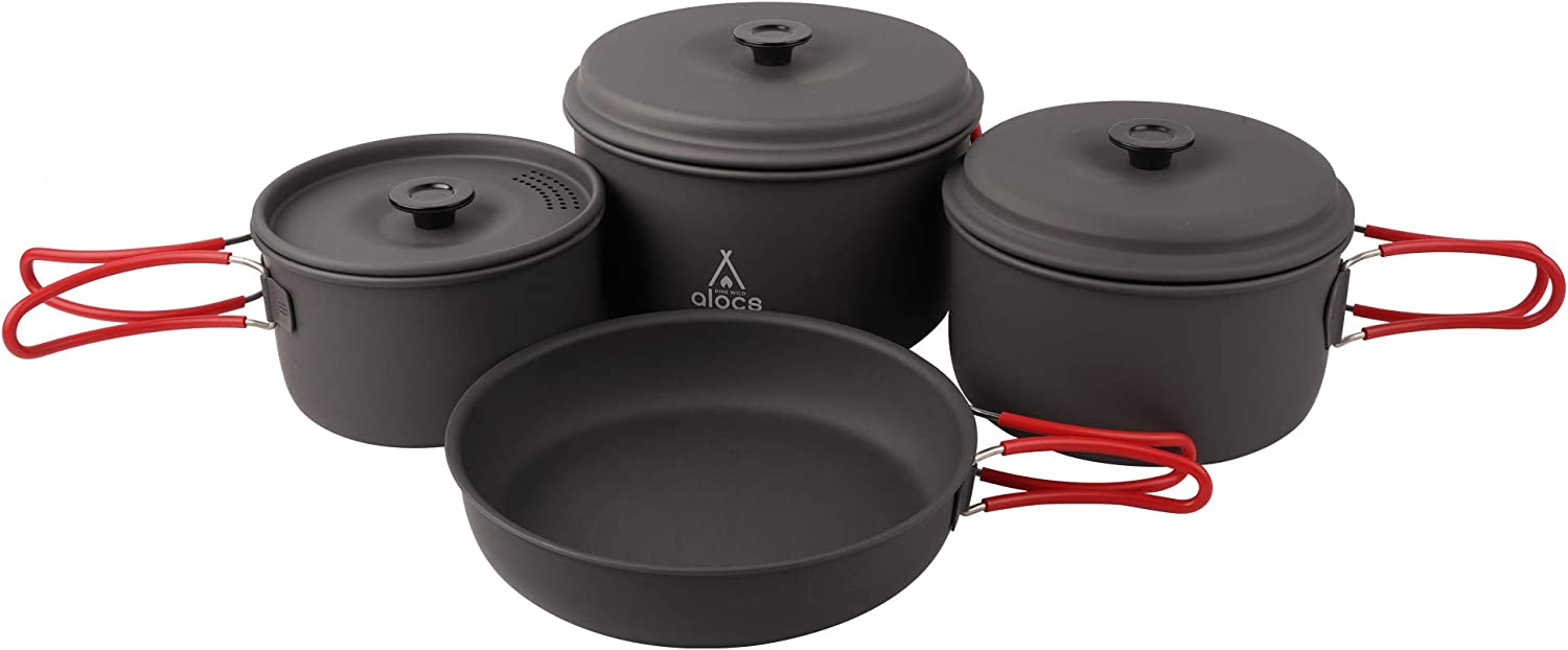 Amazon Com Alocs Camping Cookware Pots And Pans Set Backpacking Mess Kit For Hiking Picnic Outdoor Lightweight Sports Outdoors