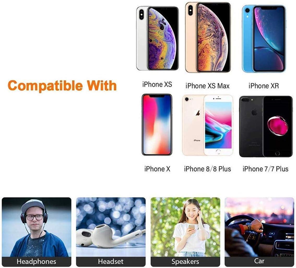 Adaptador de iPhone 11 Adaptador Jack de 3,5 mm Conector de Auriculares para iPhone 11//11 Pro//X//Xs//7//7 Plus//8//8 Plus Convertidor para Auriculares Divisor de Audio Apoyo Todos los iOS-Blanco