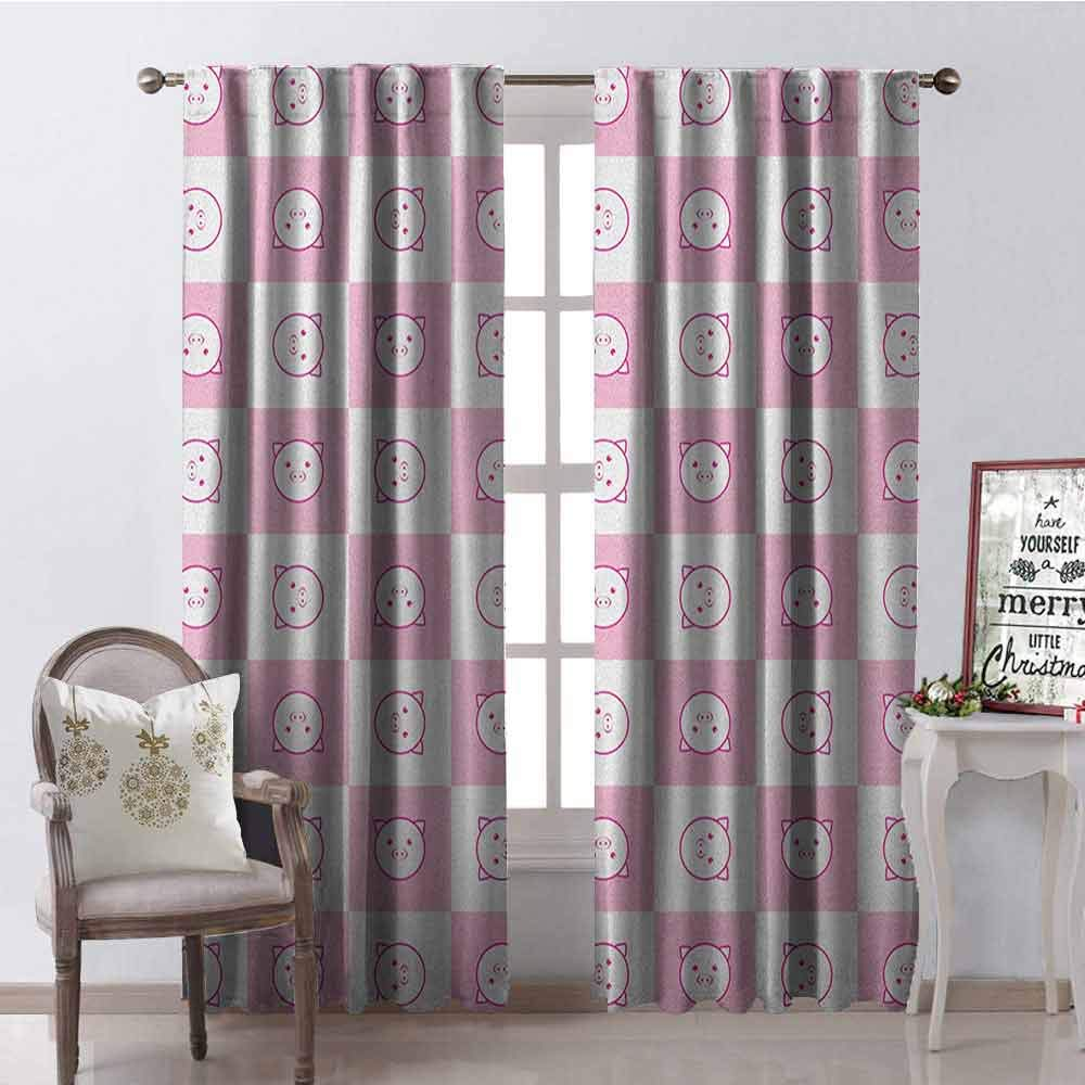 GloriaJohnson Checkered Shading Insulated Curtain Squares with Funny Happy Piggy Faces Kids Girls Children Pattern Soundproof Shade W42 x L84 Inch Baby Pink Hot Pink White