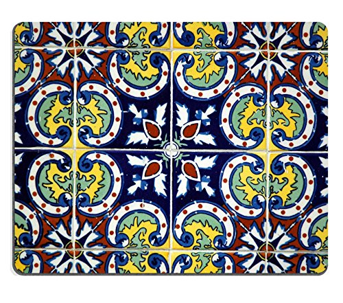 Liili Mouse Pad Natural Rubber Mousepad Spanish Tile on a Wall Photo 600156