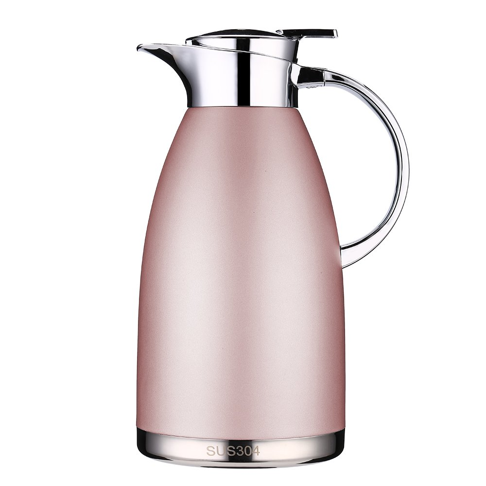 Coffee Thermos Stainless Steel 64 Ounce Thermos Large Travel Bottle Vacuum Insulated Coffee Carafe - Pink