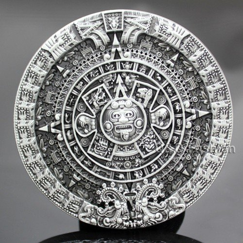 Men Antique Silver Aztec Mayan Indian Detailed Calendar M...