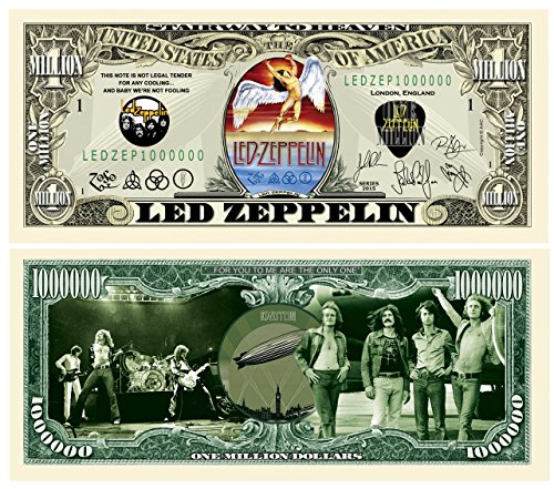 American Art Classics Led Zeppelin Limited Edition Collectible Novelty Million Dollar Bill - Comes in Currency Holder - Best Gift for Zep Fans Picture of Band On Front and Back ()