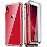 COOLQO Compatible for iPhone XR Case, with [2 x Tempered Glass Screen Protector] Clear 360 Full Body Coverage Hard PC+Soft Si