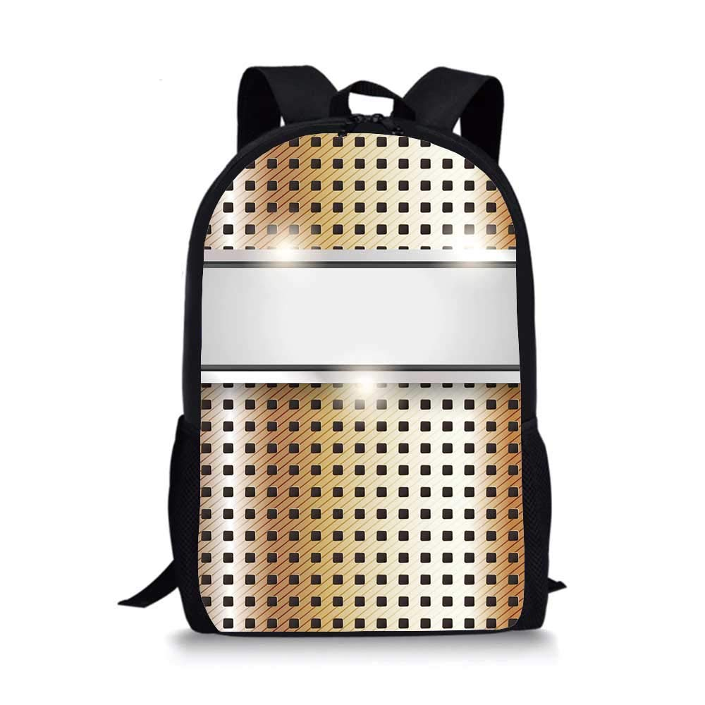 Copper Decor Individual School Bag,Copper Iron Close Up Surface Band Mechanical High Tech Image Decorative for Children Student,One_Size