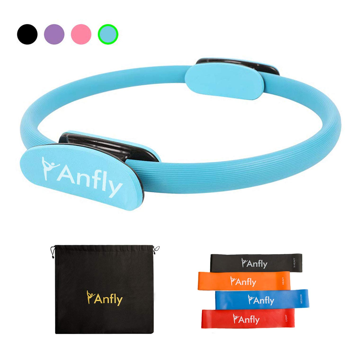 Anfly Pilates Ring - Enough Resistance Pilates Circle with 4 Colors Stretch Straps, Stronger Fitness Exercise Circle Equipments for Full Body Toning, Yoga and Core Strength Training Easy to Control by Anfly