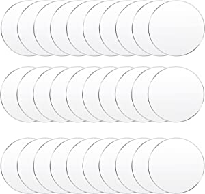 30 Pieces Clear Acrylic Circles Clear Disc Transparent Acrylic Round Circle Clear Disc Acrylic Sheet Acrylic Plastic Disc for Art Project and DIY for Drink or Protection for Furniture (3.5 Inch)