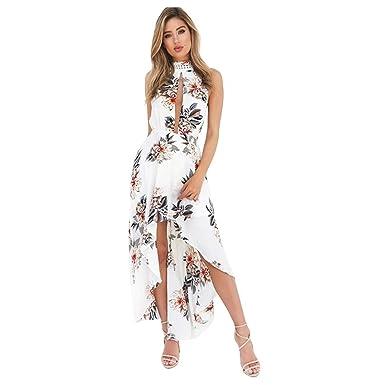 TOOGOO(R) Women Sexy Dress Halter Floral Print Long Dress Women Summer Split Beach