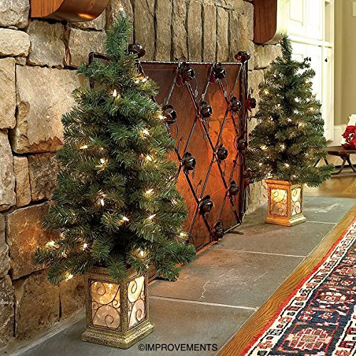4 Ft Pre-Lit Entryway Christmas Trees - Set of 2 - By Improvements by Improvements (Image #1)