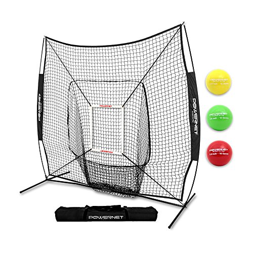(PowerNet DLX 2.0 System (Black) | 7x7 Baseball Hitting Net + Weighted Training Ball 3 Pack + Strike Zone | Swing Harder | Throw Faster | Build Pitch & Hit Specific Muscle Groups Pitching Accuracy)