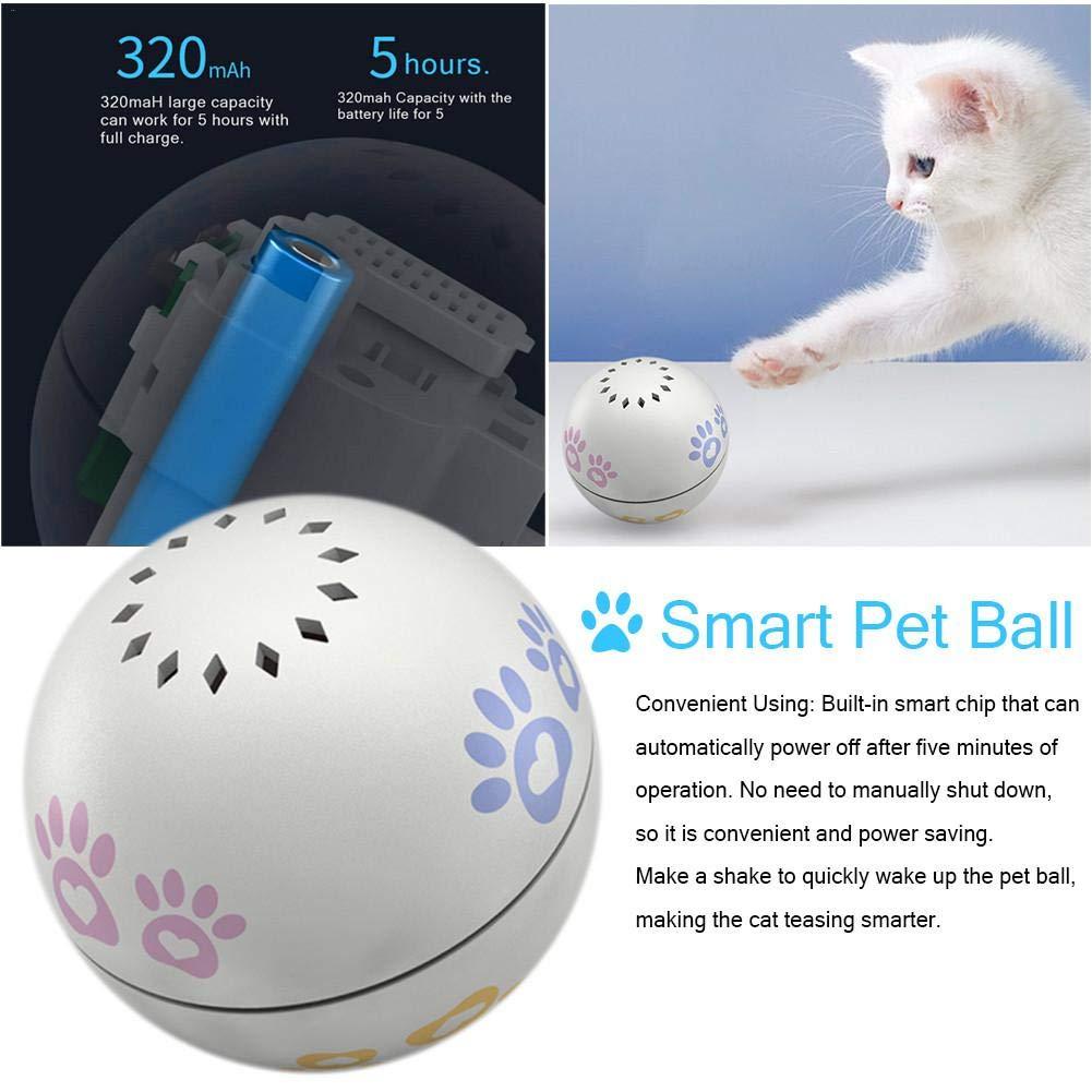 l/ámpara LED de protecci/ón ocular incorporada y c/ámara Catnip juguete electr/ónico para mascotas con desplazamiento autom/ático activado por movimiento USB recargable Smart Interactive Cat Toys Ball