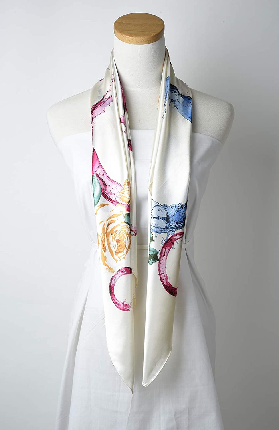corciova 35 Large Womens Satin Square Silk Feeling Hair Scarf Wrap Headscarf Navy and White Pattern