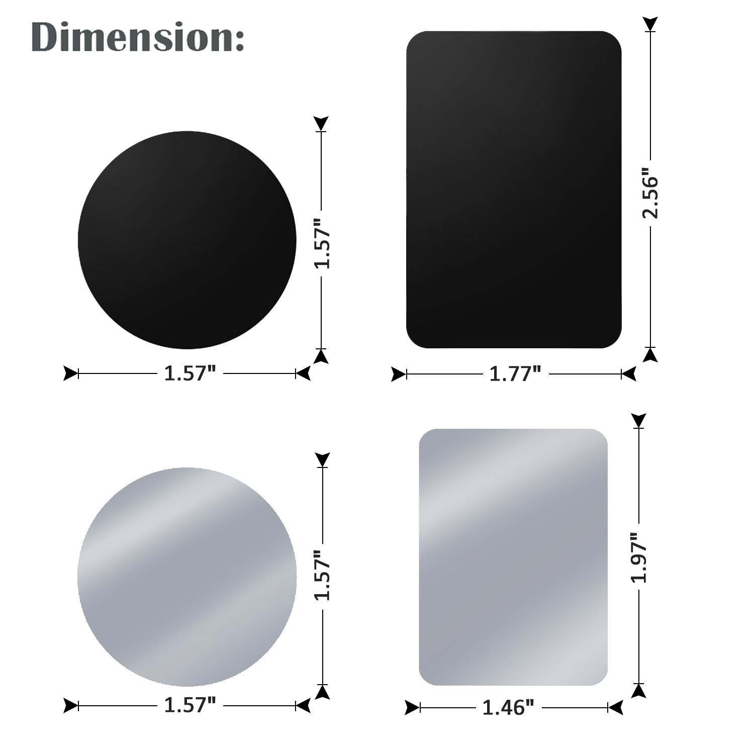 2 Rectangle 2 Round Tryone Metal Plate Black/&Silver Compatible with Magnetic Car Mounts Metal Disc Replacements Without Logo or Hole