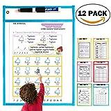 DCZTELG Dry Erase Pockets 12 Pack Sleeve For Kid Children Classroom Kindergaarten Organization & Teaching Supplies With 12 Different Fun Math Sheets (12 -Pack)