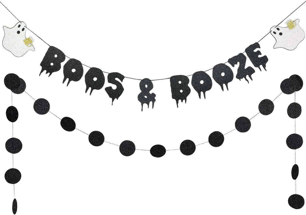 Black Glittery Boos & Booze Banner and Black Glittery Circle Dots Garland- Halloween Party Decorations,Halloween Banner,Halloween Bachelorette Party Decorations,Halloween Decor
