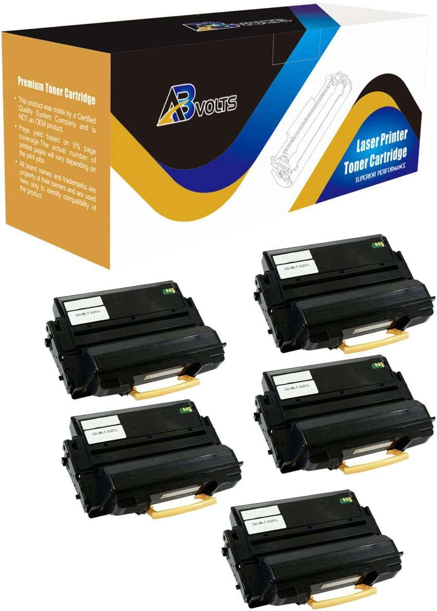 AB Volts Compatible Toner Cartridge Replacement for Samsung MLT-D201L for ProXpress M4080FX M4030ND Black,5-Pack