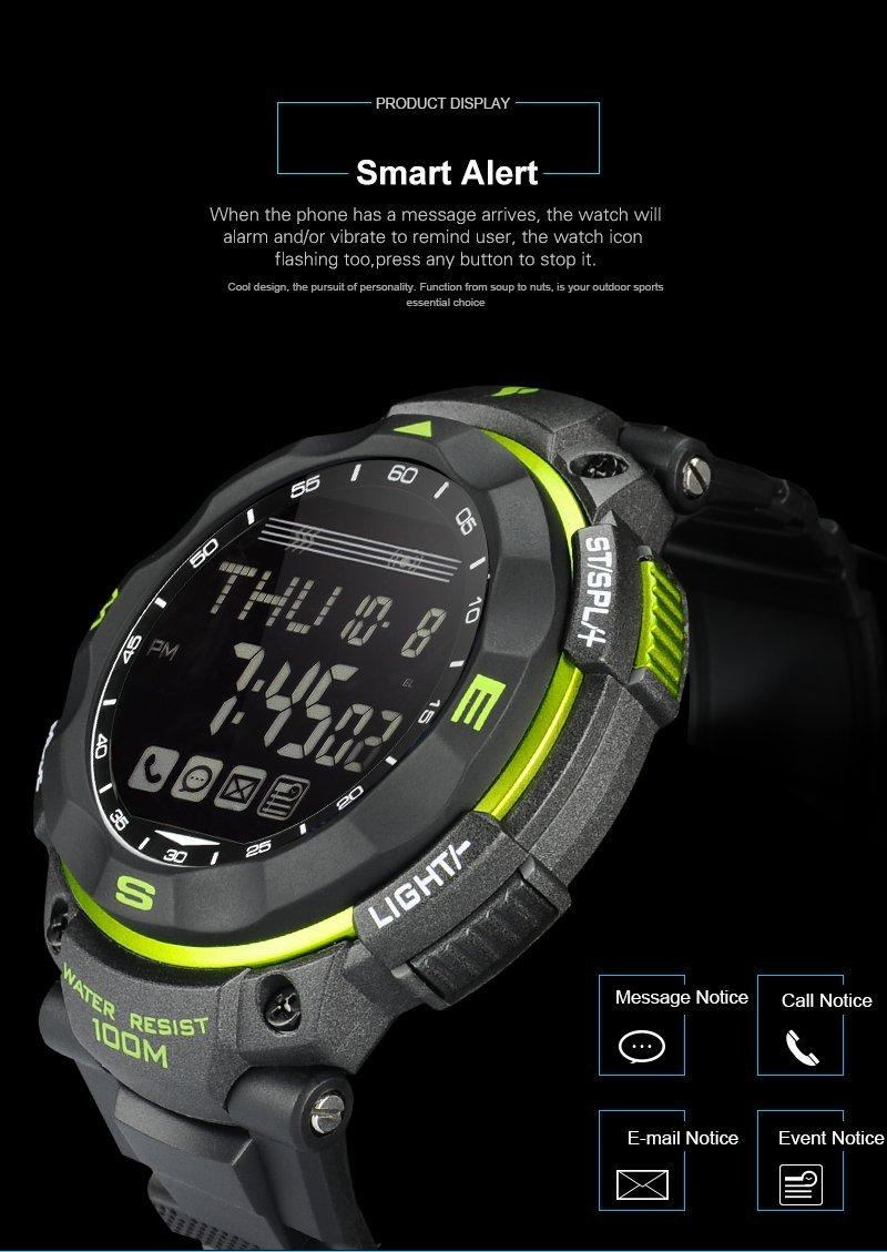 Youngs PS1503 - Smartwatch Deporte Reloj Electríco (Impermeable 100M, Compatible con Android iOS , Bluetooth, Alerta Inteligente, Despertador), Verde