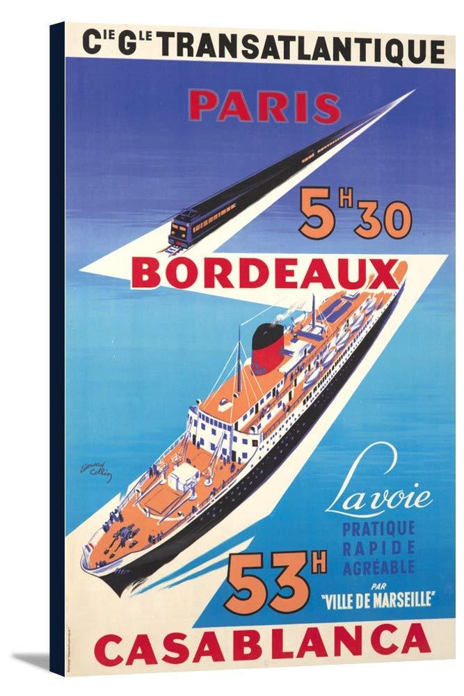 TRANSATLANTIQUE – パリ – ボルドー – Casablancaヴィンテージポスター(アーティスト: Collin , Edouard ) C。1951 22 5/8 x 36 Gallery Canvas LANT-3P-SC-65099-24x36 22 5/8 x 36 Gallery Canvas  B018SIRX6E