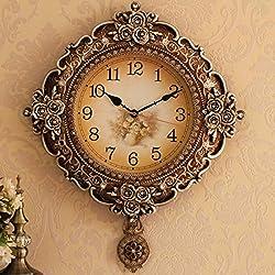 Wall Clocks American Retro Watch European Household Living Room Wall Clock Wall Clock Clock Watch Quiet Atmosphere Of Creative Personality Pendulum,B