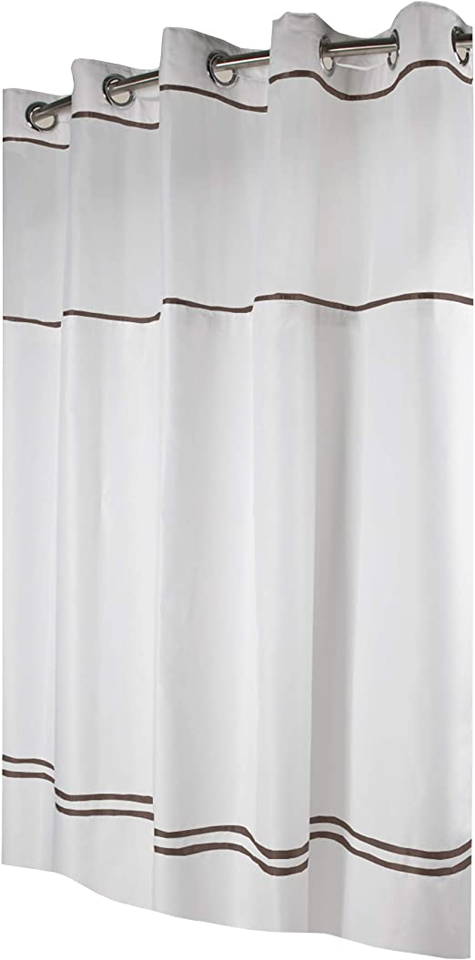 Amazon Com Instecho Fabric 3 In 1 Shower Curtain Set With Peva Snap In Liner And Window 71 Inch By 74 Inch White Brown Home Kitchen