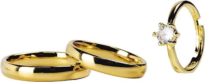 Par Aliança Tradicional 4mm + BRINDE Anel Solitário Gold Ajustável Banhados Ouro