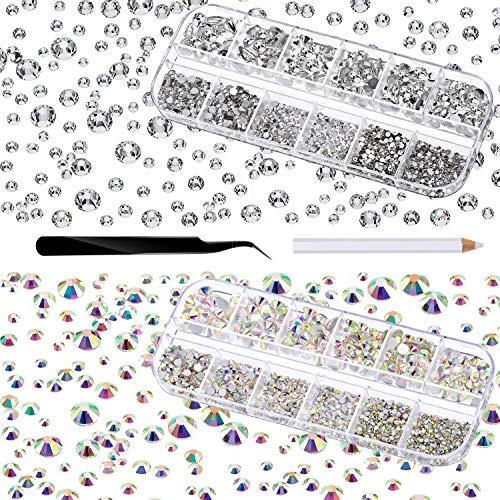 TecUnite 4000 Pieces Glass Flatback Gemstones Round Flat Back Rhinestones 6 Sizes 1.5 mm-6 mm in Box with Tweezer and Rhinestones Picking Pen for Nail Face Art (Crystal AB and Clear)