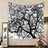 Gzhihine Custom tapestry Apartment Decor Tapestry Forest Tree Branches Modern Decor Spooky Horror Movie Themed Print for Bedroom Living Room Dorm Black and White
