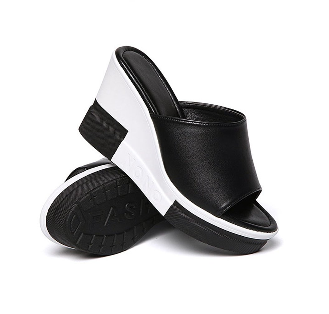 U-MAC Women Anti-Slip Fashion Platform Slides Summer Anti-Slip Women Casual Walking Wedge Peep Toe Sandals B07BYNYLTT 4 B(M) US|Black 5e1943