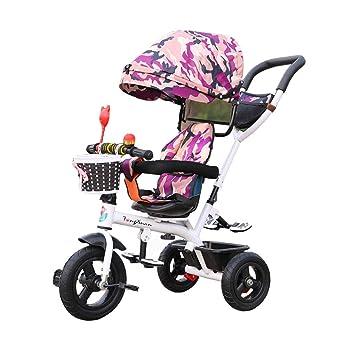 Asiento Giratorio de Triciclo para niños para 1-3-6 años. Bicicleta multifunción 3 Ruedas para Carro de bebé Ruedas de Goma Toldo para Bicicletas 4 en 1: ...