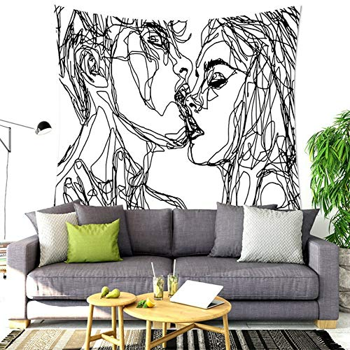 Hippie Man Kiss Woman Tapestry, Psychedelic Tapestry Abstract Sketch Art Wall Hanging Tapestry, Kiss Dorm Room Tapestry Hooks (Style 2, 78