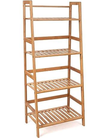 HOMFA Estantería Baño de Bambú Estantería Almacenaje para libros plantas  con 4 estantes 48 x 32x 4aceeb937d19