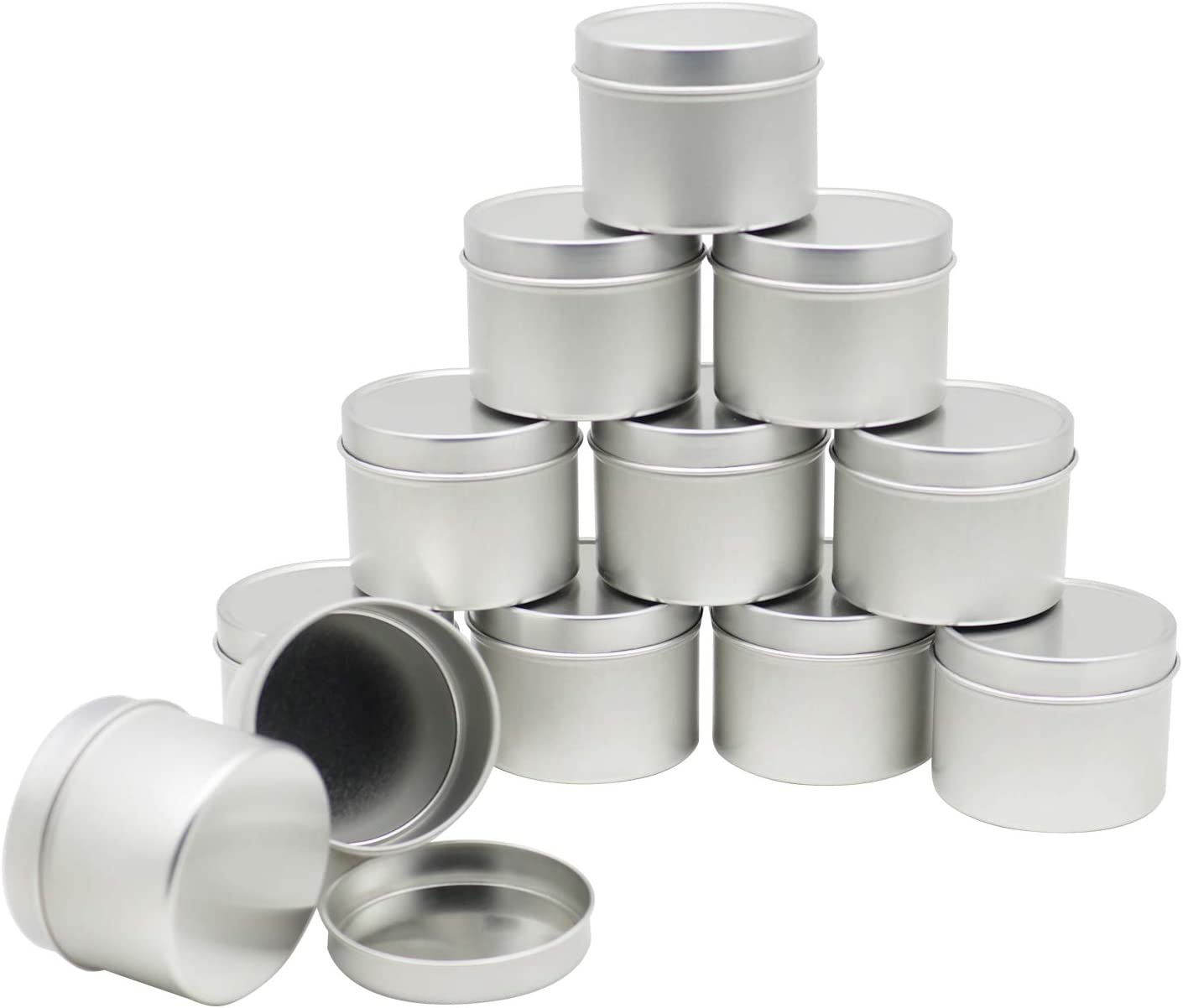 8-Ounce Metal Candle Tins 24-Pack Round Containers For Candles Arts /& Crafts ...